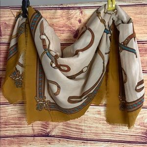 Large Square Equestrian Print Cotton Shawl Scarf